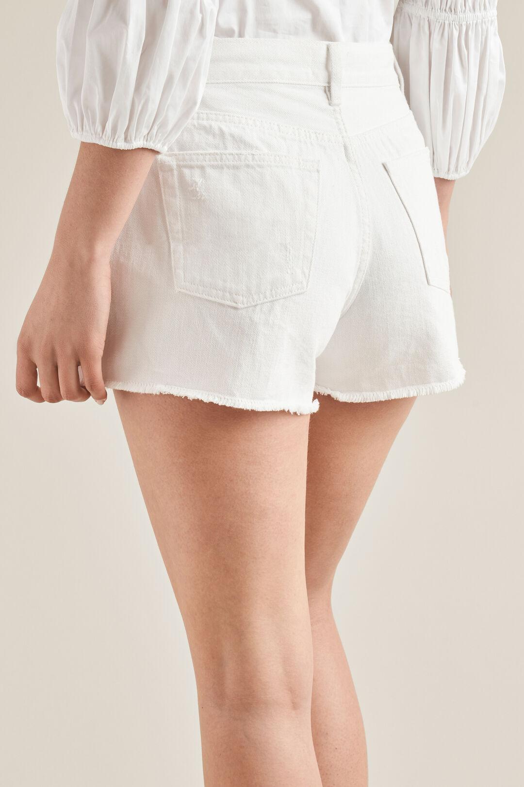 Rigid Denim Shorts  WHITE  hi-res