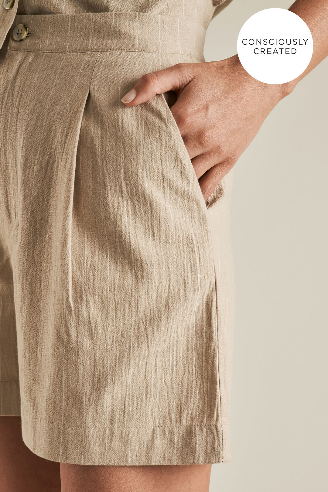 Sustainable Stripe Short  TEAK STRIPE  hi-res