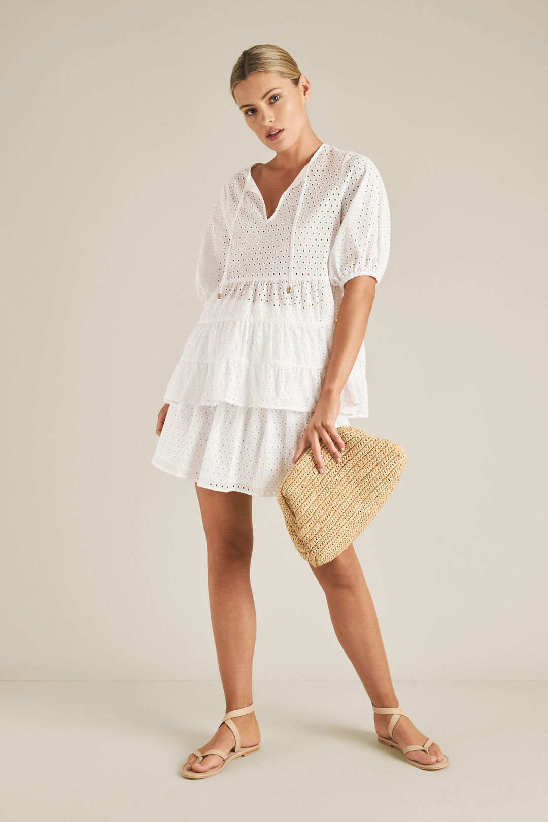 Tiered Broderie Top  WHISPER WHITE  hi-res