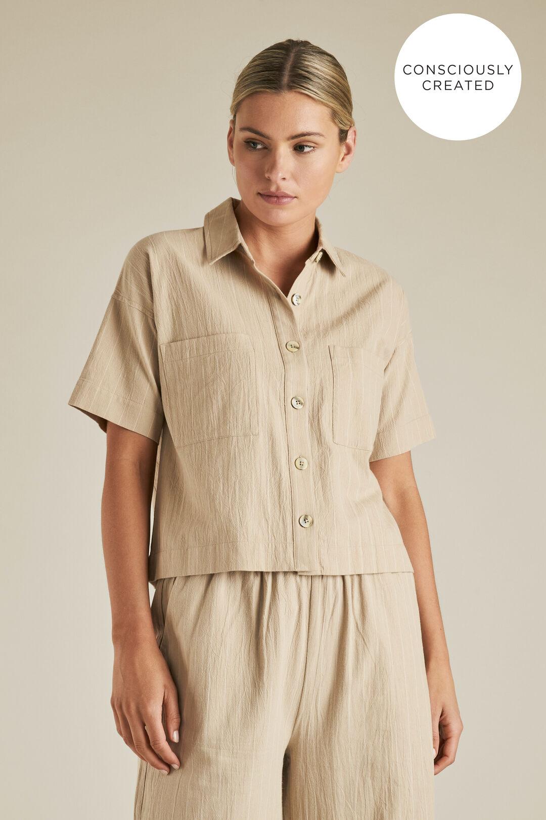 Sustainable Stripe Crop Shirt  TEAK STRIPE  hi-res