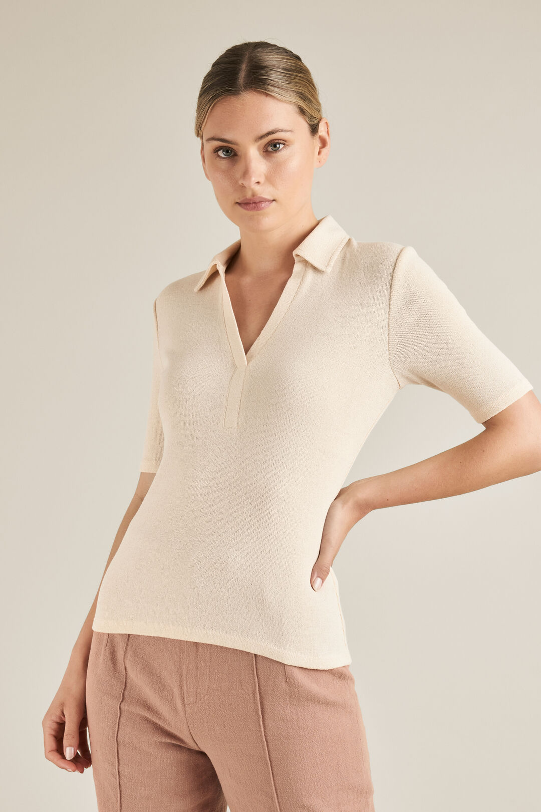 Short Sleeve Collared Top  BUTTERY CREAM  hi-res