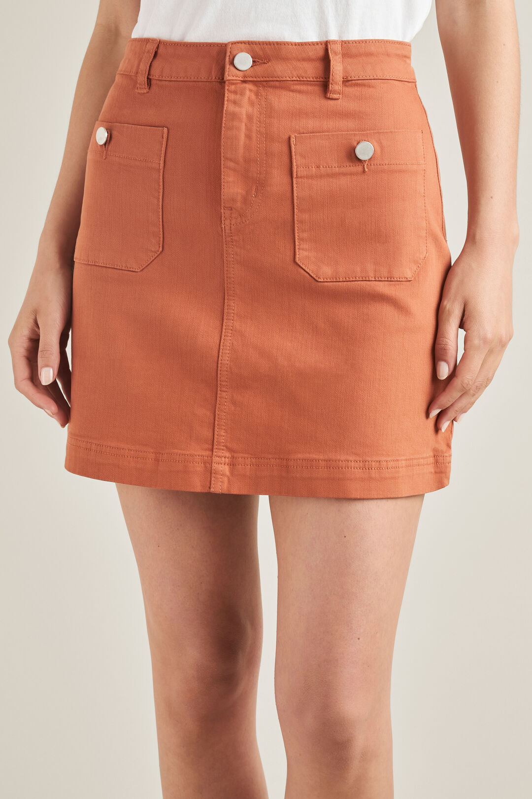 Stitch Detail Mini Skirt  MOROCCAN RED  hi-res