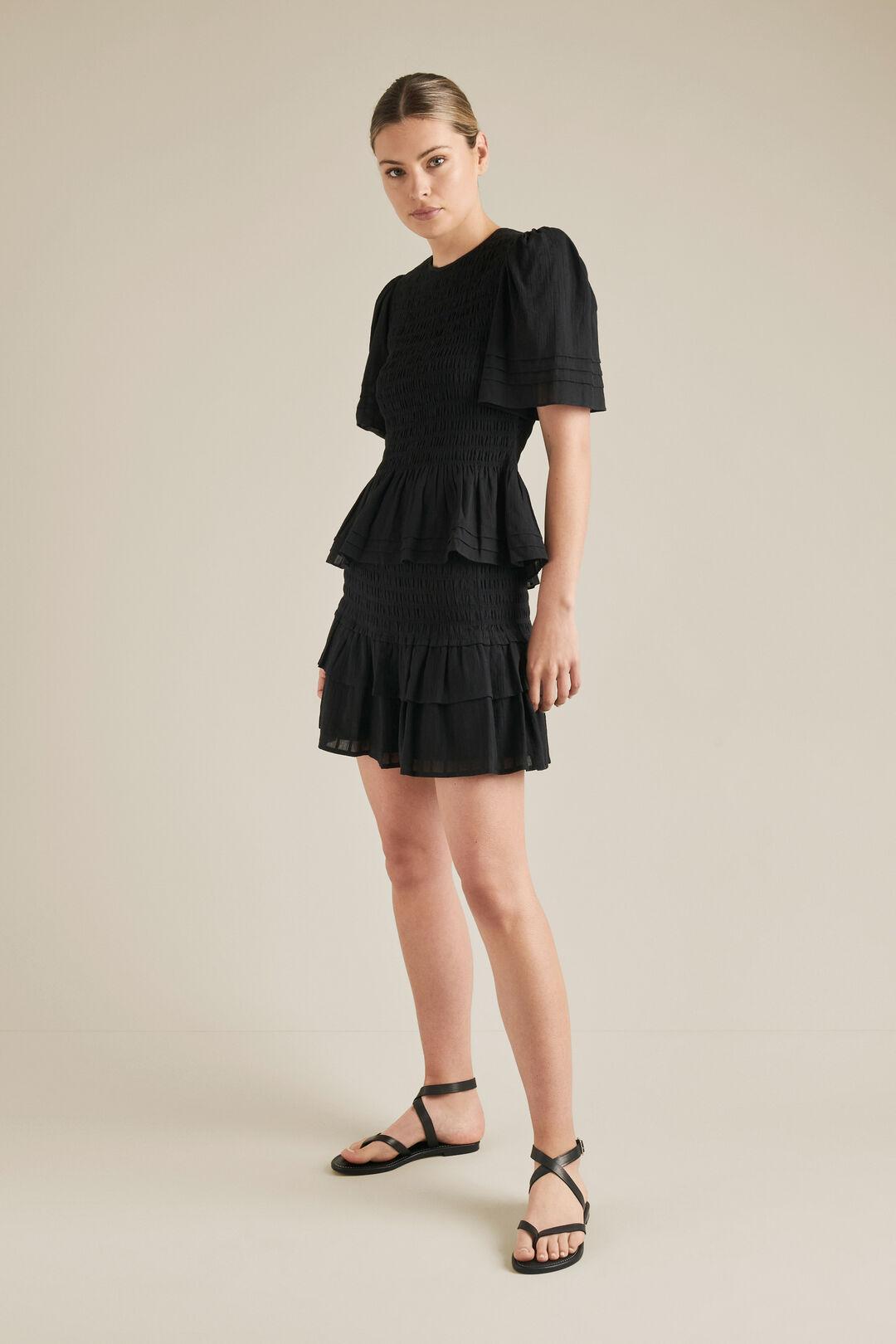 Shirred Mini Skirt  BLACK  hi-res