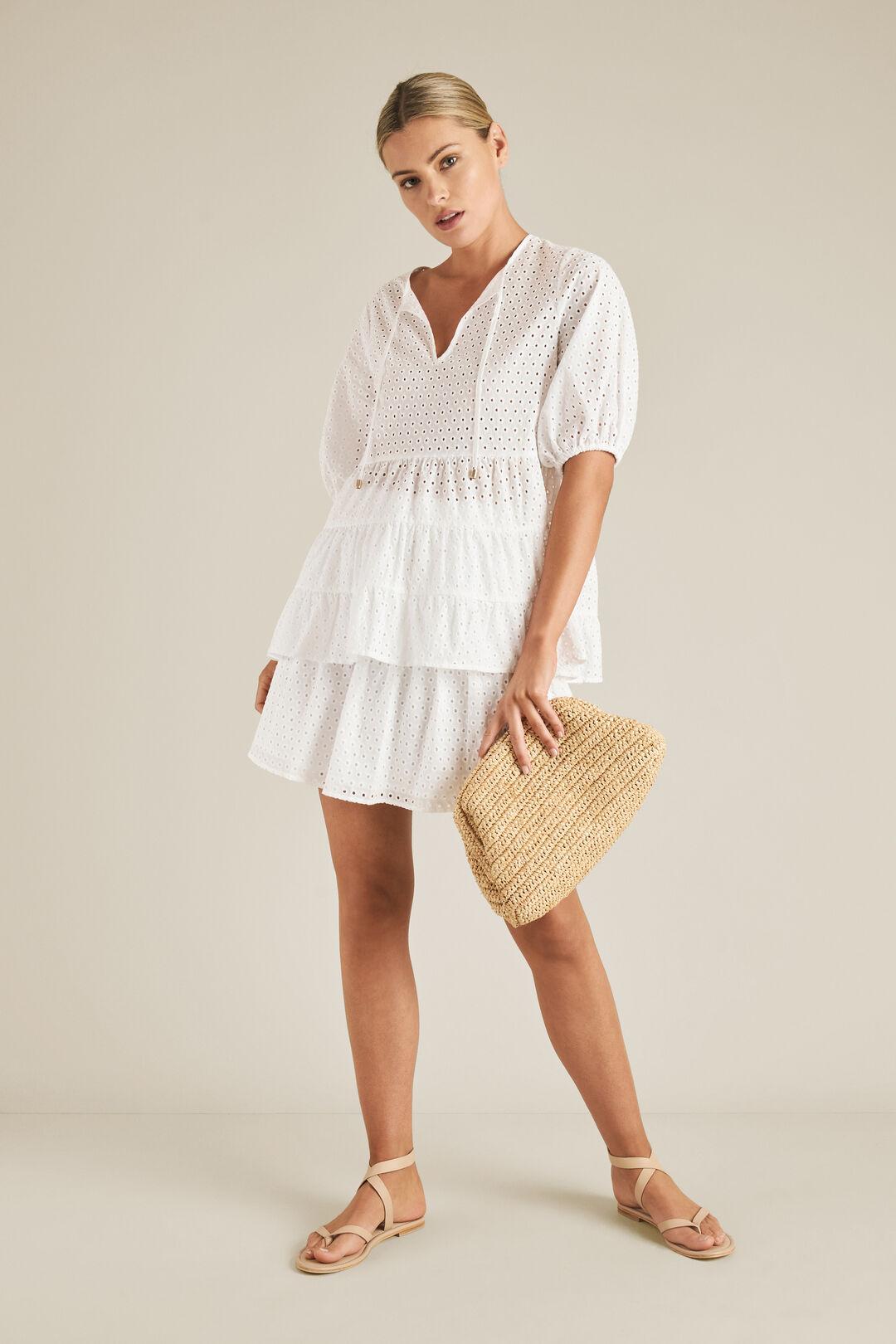 Shirred Broderie Skirt  WHISPER WHITE  hi-res