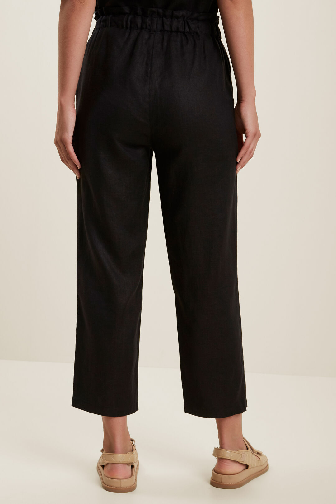 Linen Tie Up Pants  BLACK  hi-res