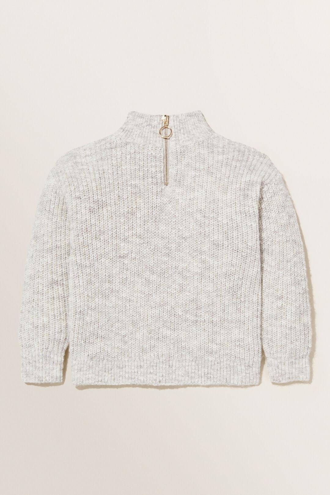 Zip Collar Knit Sweater  OAT MARLE  hi-res