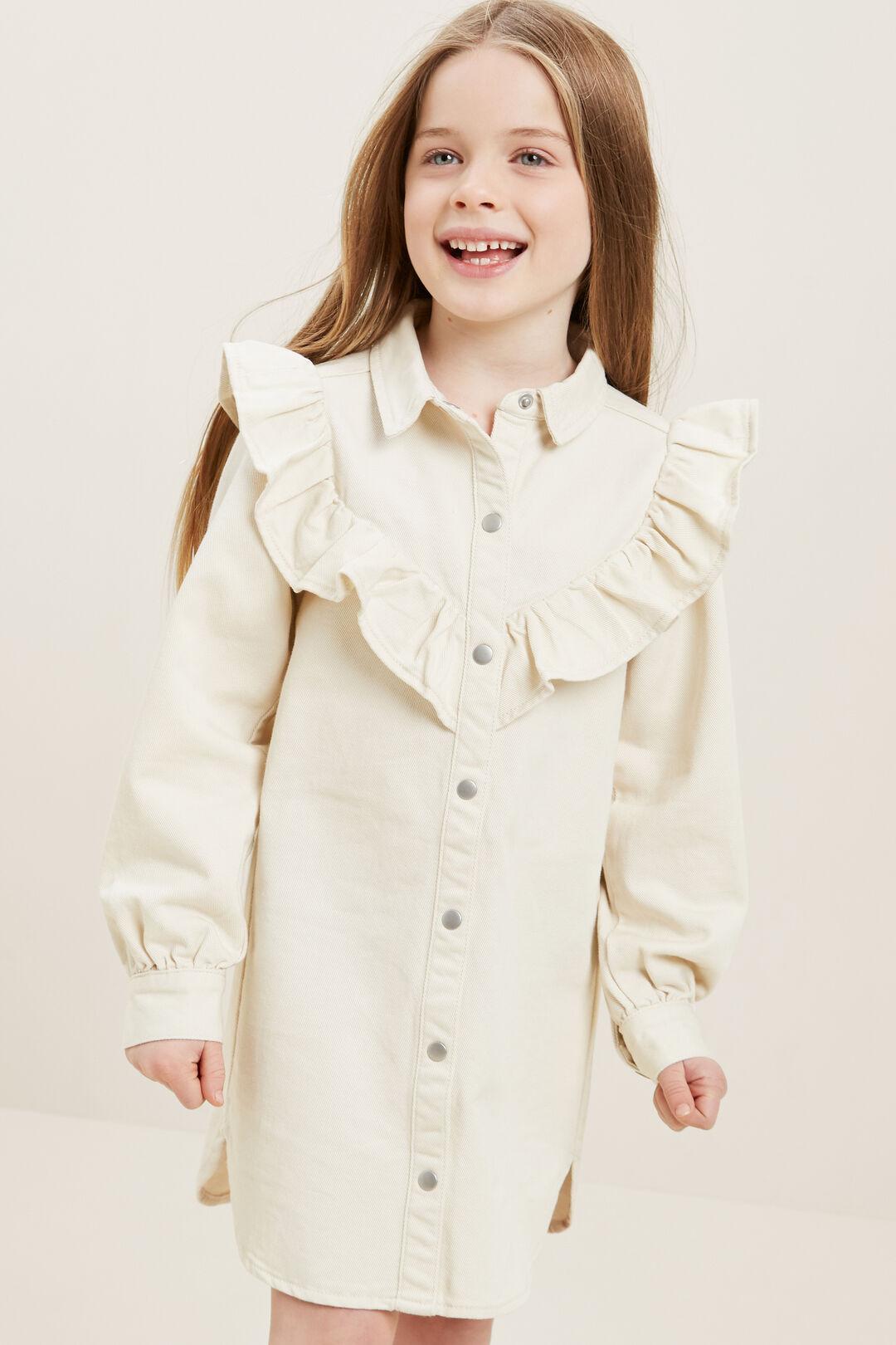 Denim Frill Dress  VINTAGE WHITE WASH  hi-res