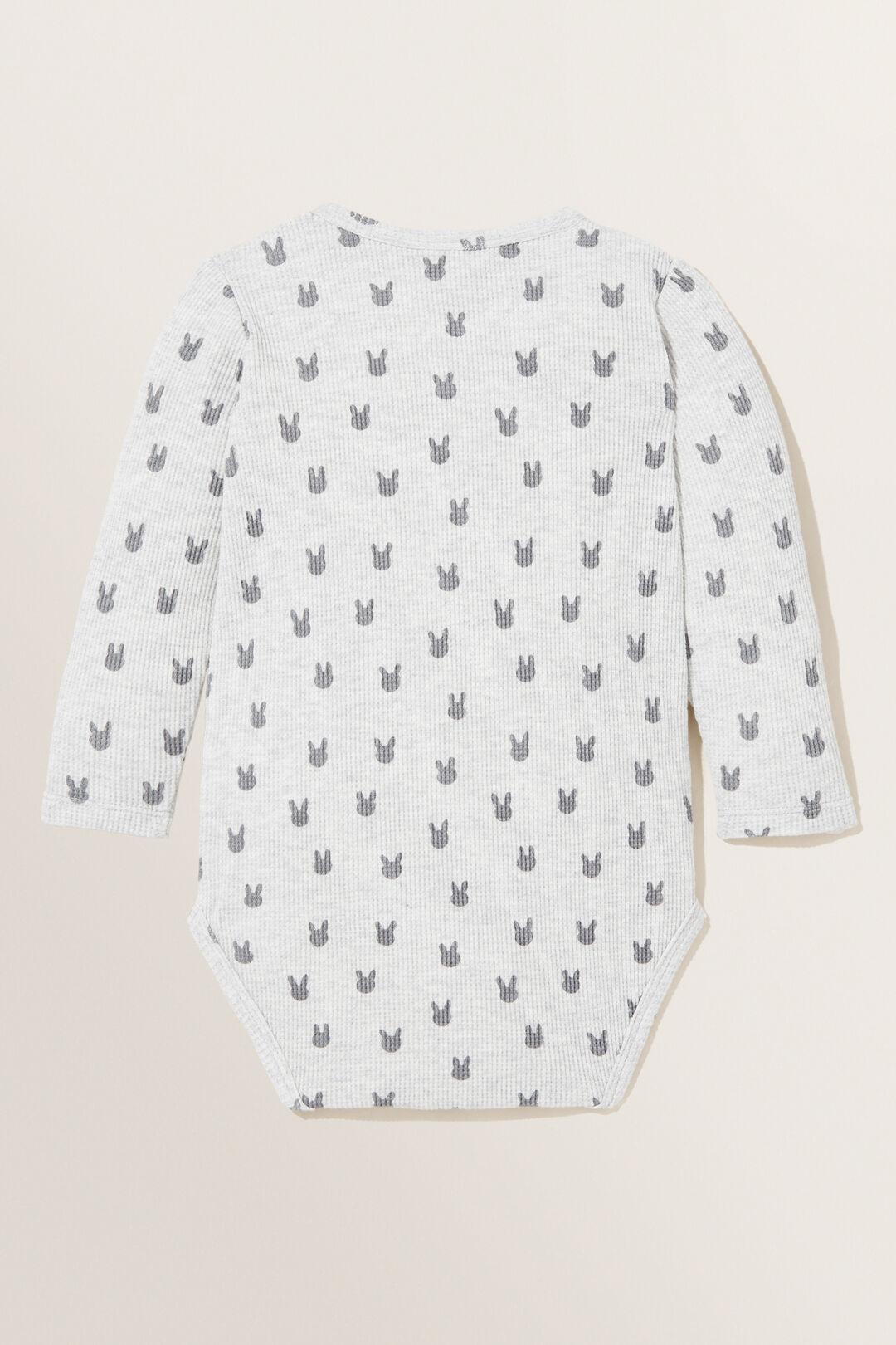 Bunny Waffle  Bodysuit  PALE GREY MARLE  hi-res