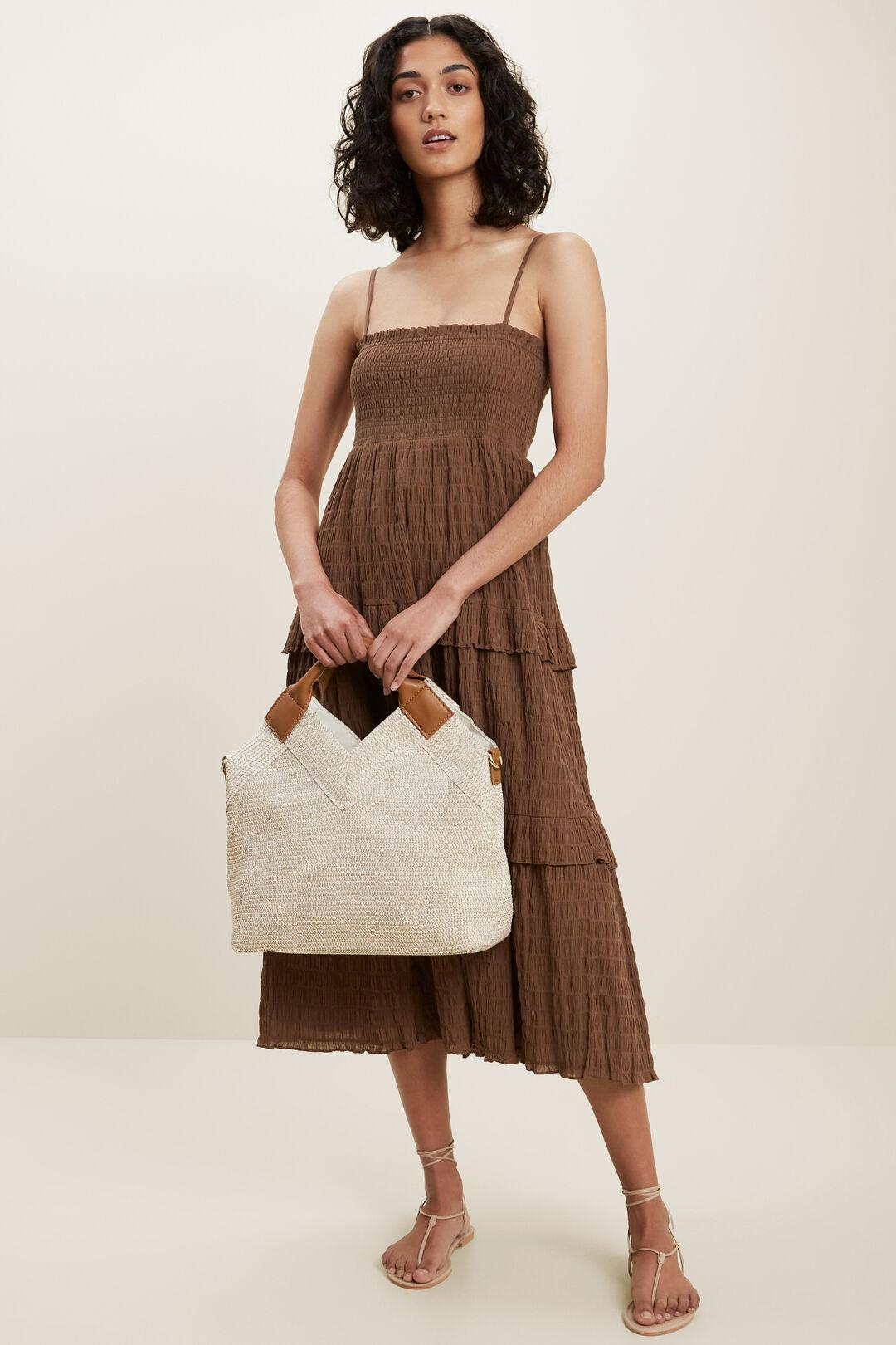 Textured Frill Midi Dress  RUSSET BROWN  hi-res