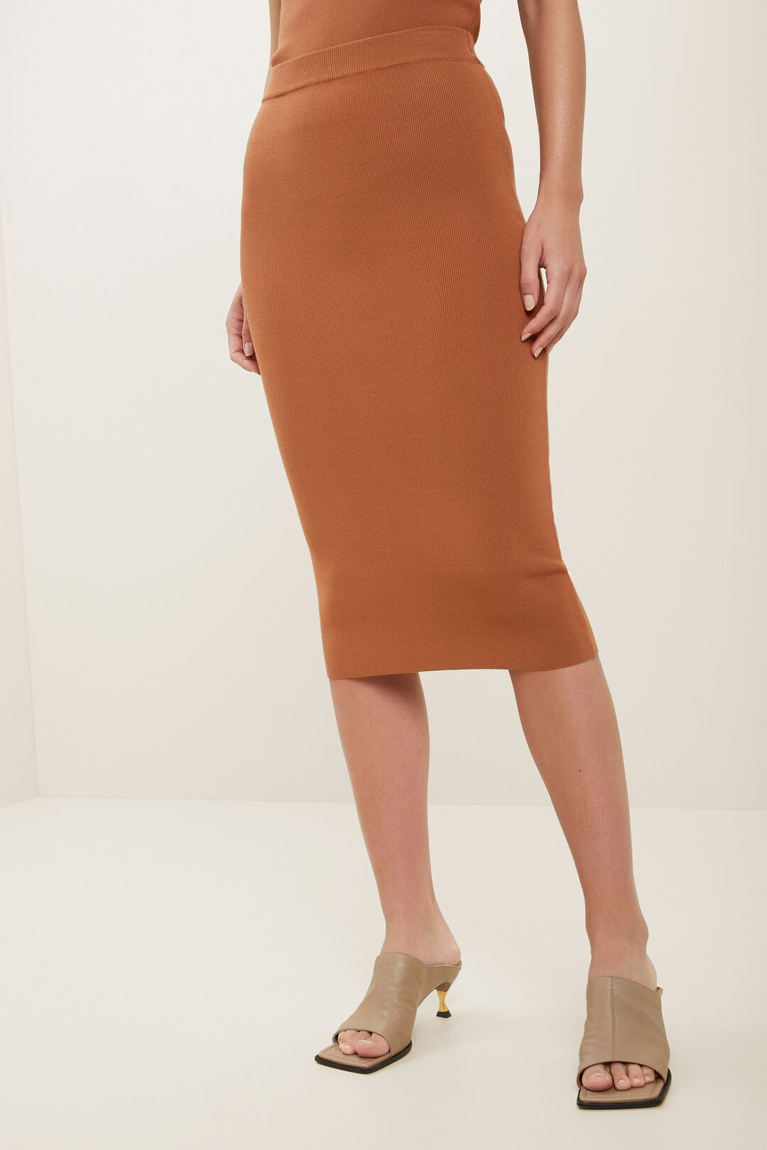 Crepe Knit Pencil Skirt  BURNT BRONZE  hi-res