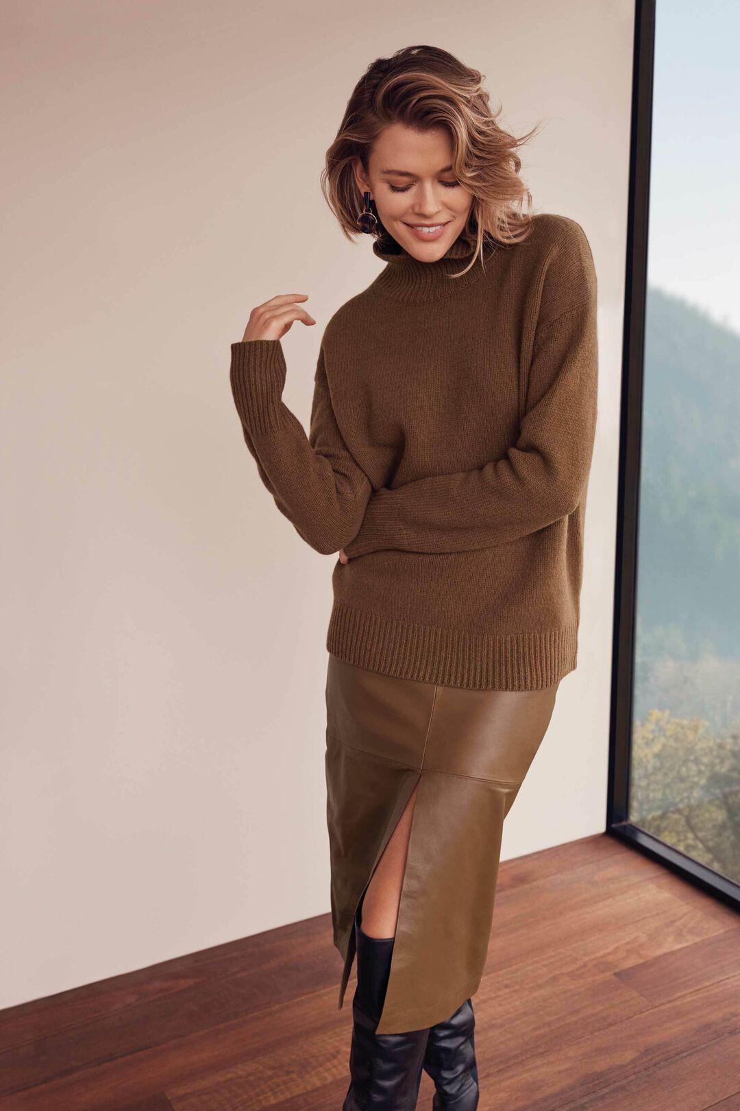 Leather Split Front Skirt  MOLASSES  hi-res