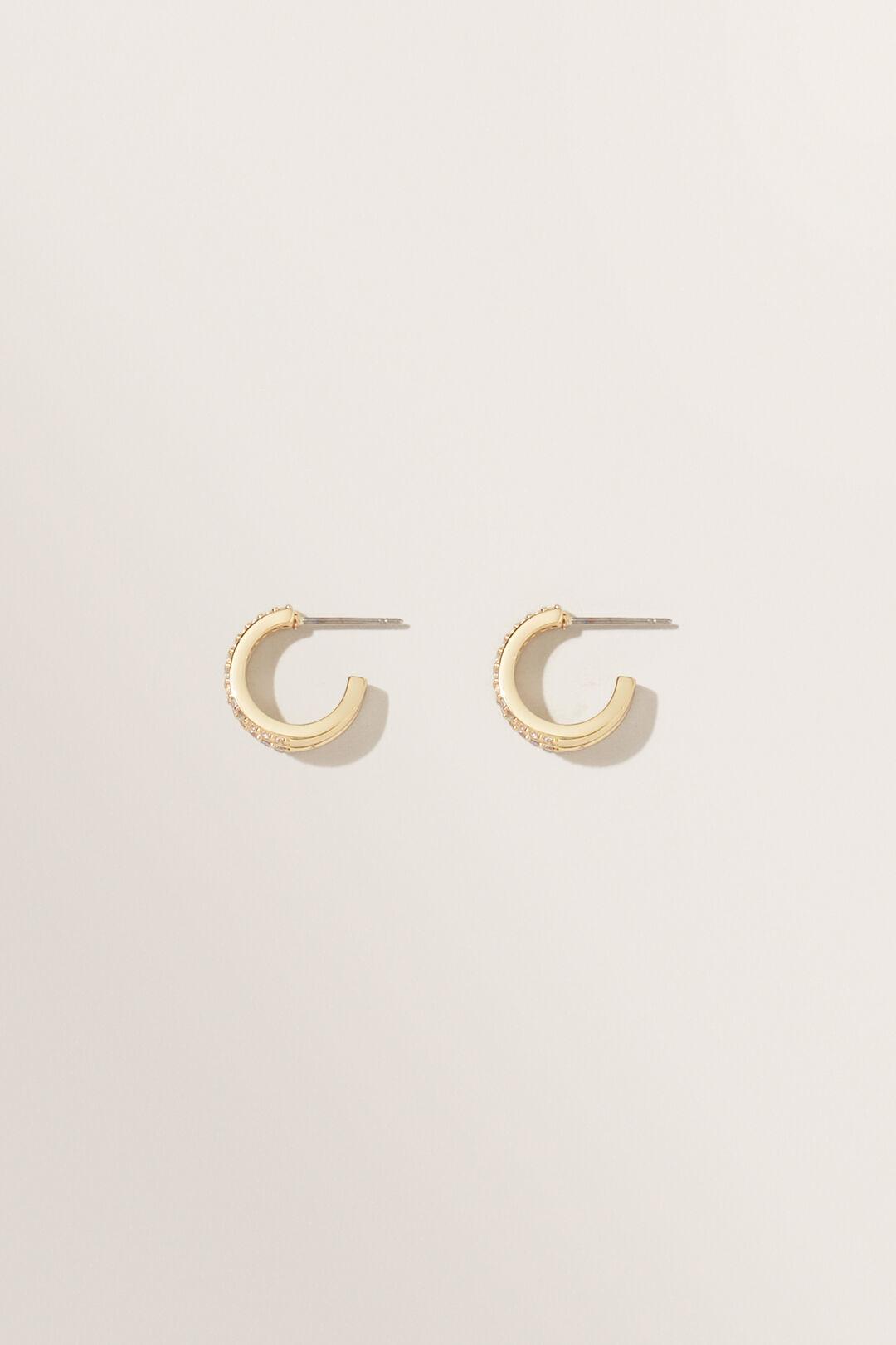 Fine Double Diamante Hoops  GOLD  hi-res