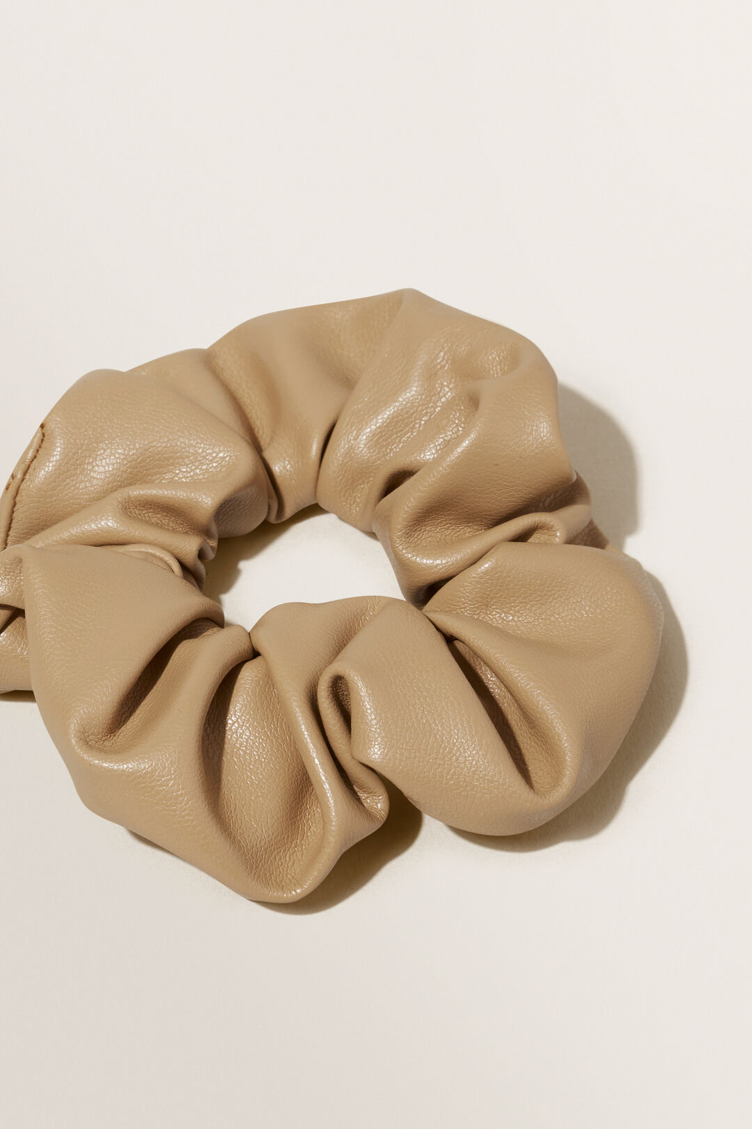 Leather Look Scrunchie  CHAMPAGNE BEIGE  hi-res