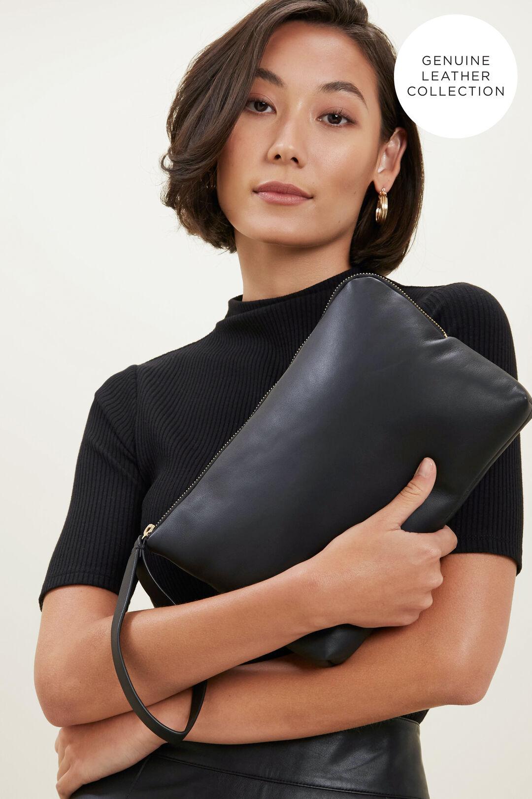 Large Leather Pouch  BLACK  hi-res