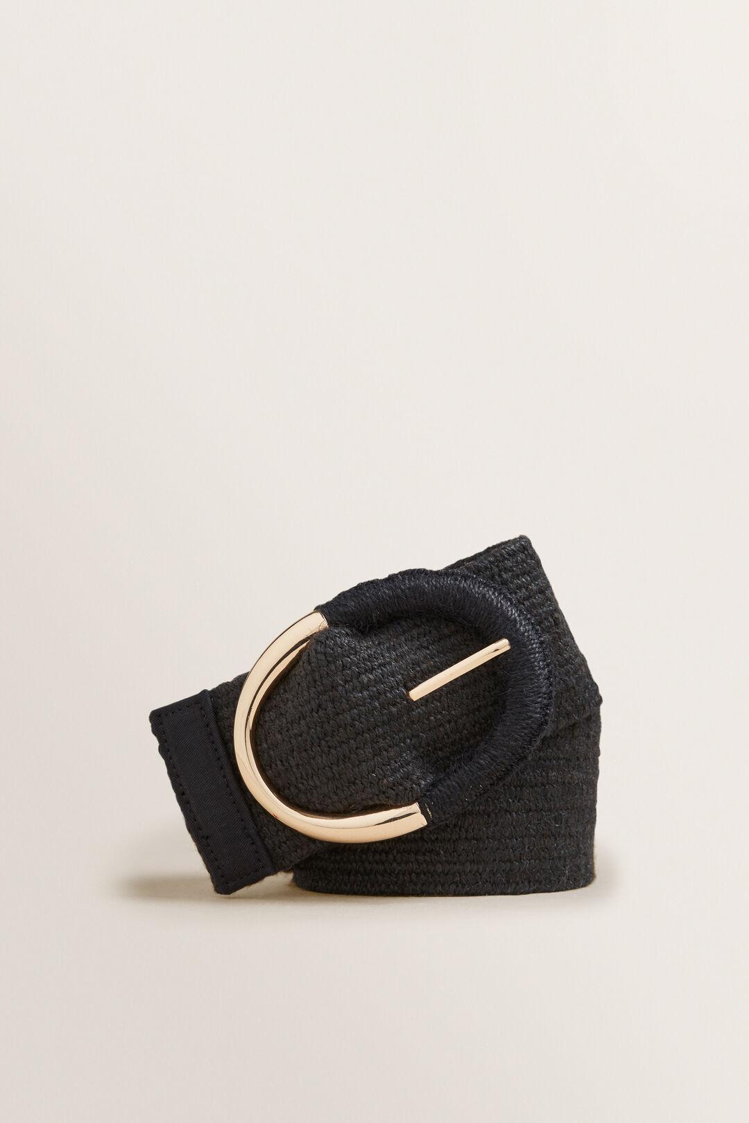 Oval Buckle Waist Belt  BLACK  hi-res