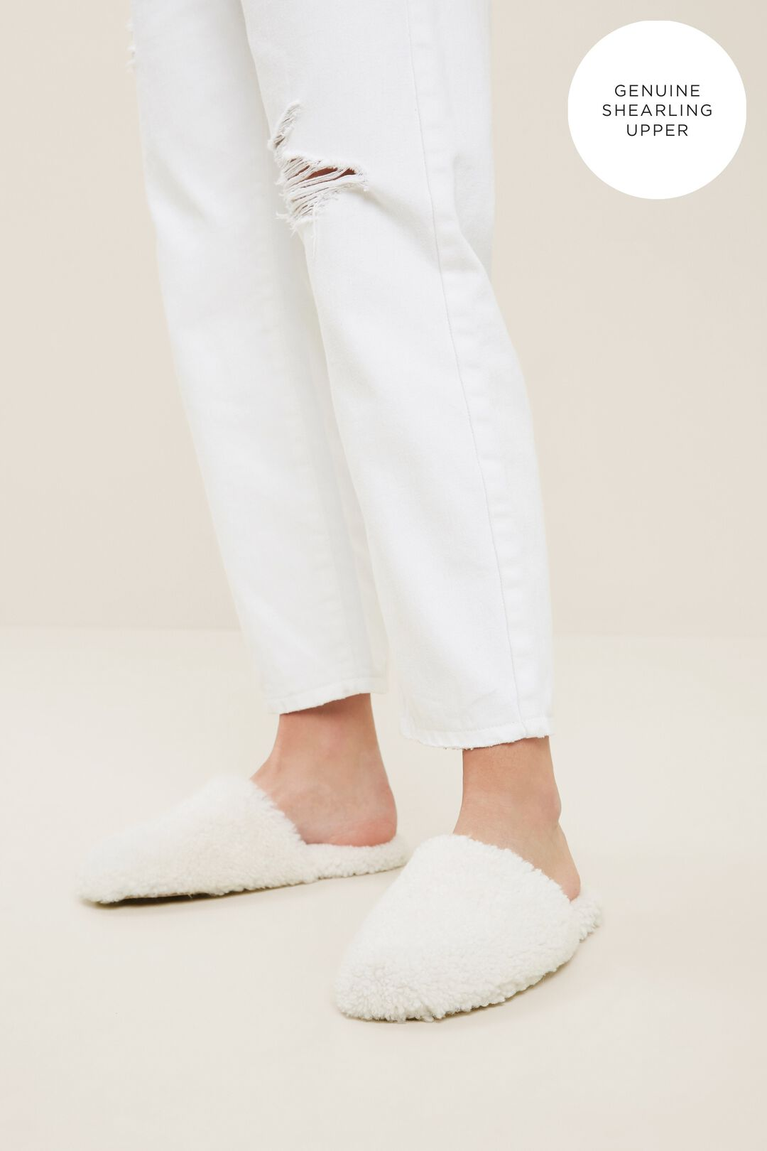 Bel Leather Slipper  CREAM  hi-res