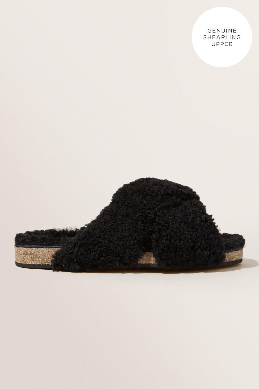 Shearling Crossover Slide  BLACK  hi-res