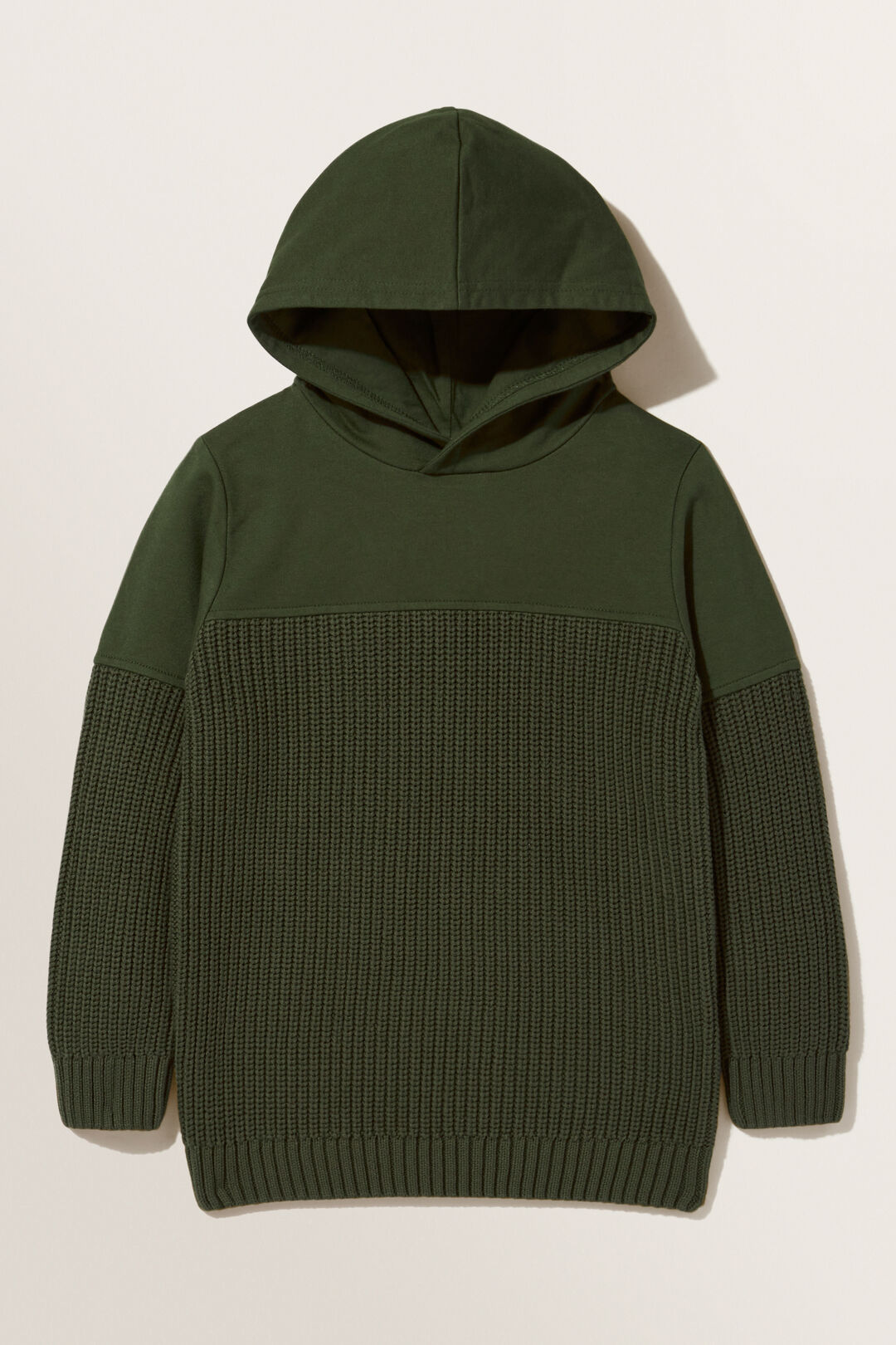 Spliced Knitted Hoodie  FOREST  hi-res