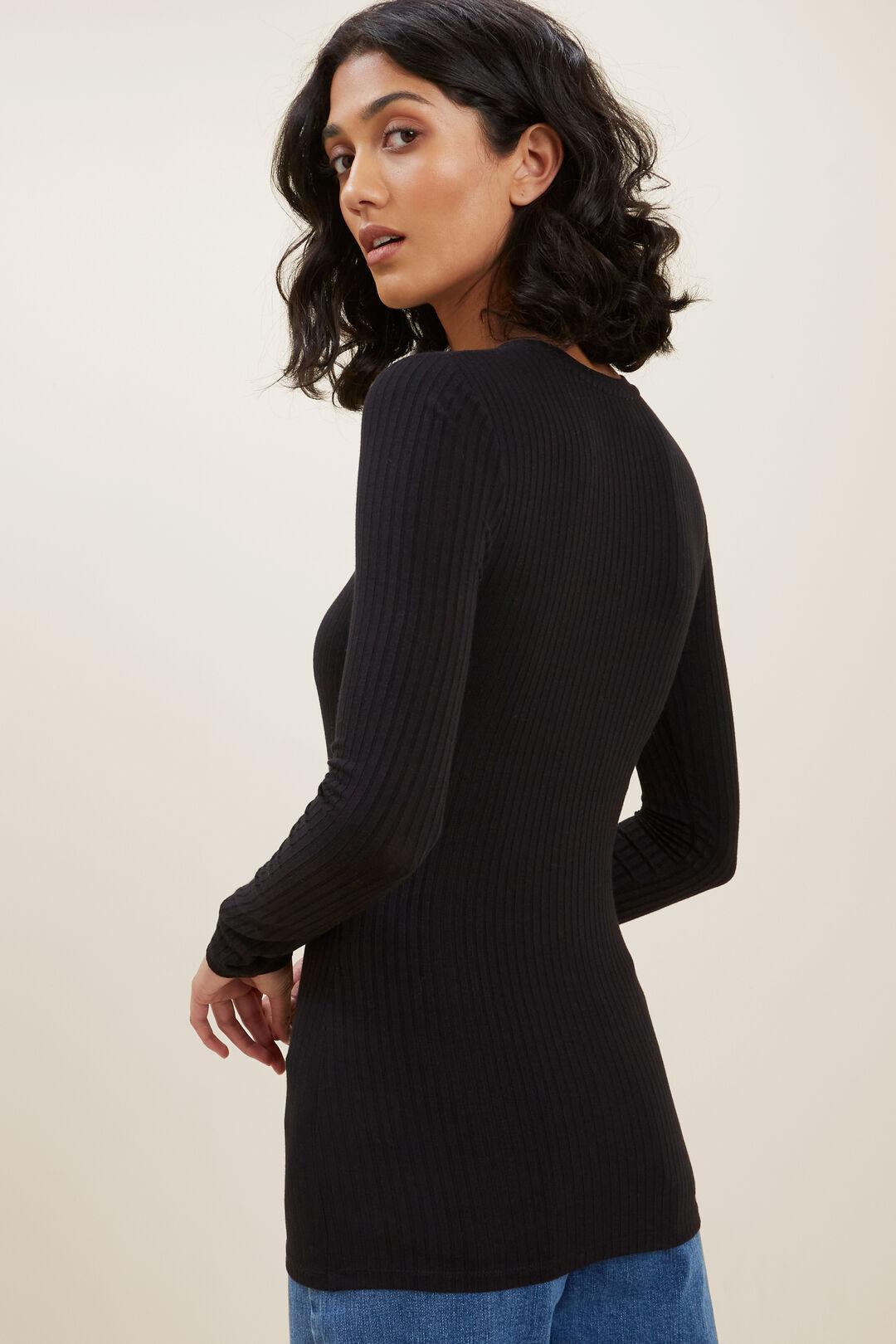 Rib Long Sleeve Top  BLACK  hi-res