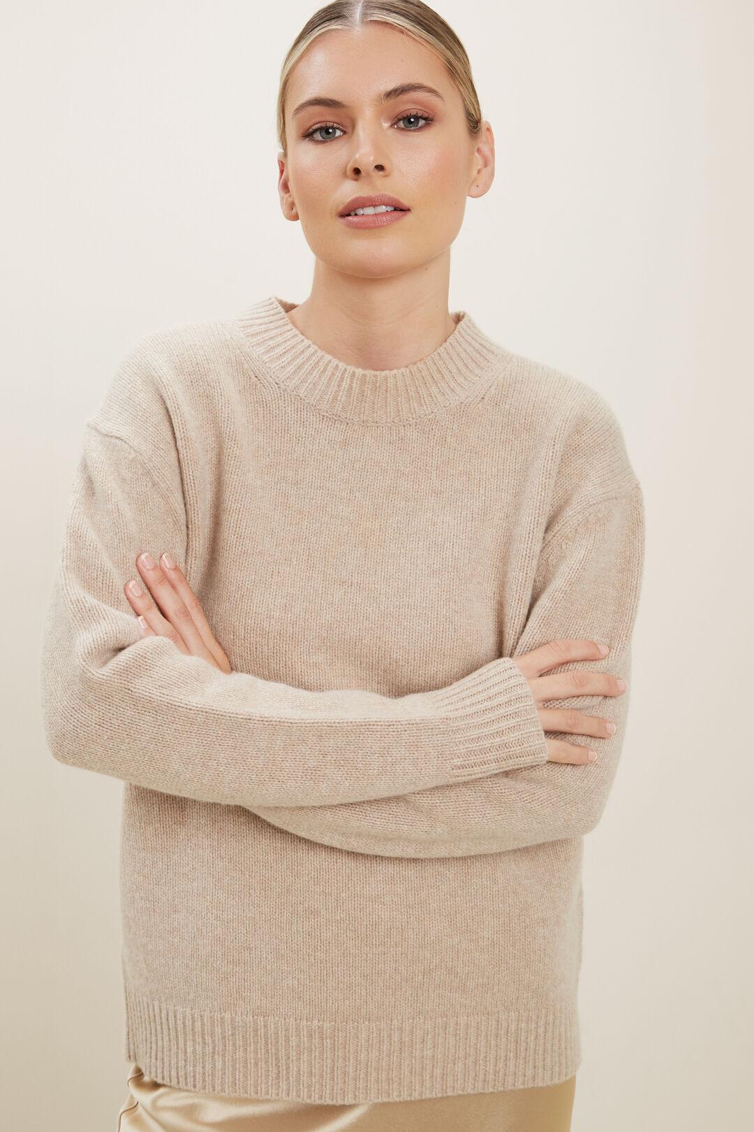 Crew Neck Wool Sweater  CHAMPAGNE BEIGE MARL  hi-res