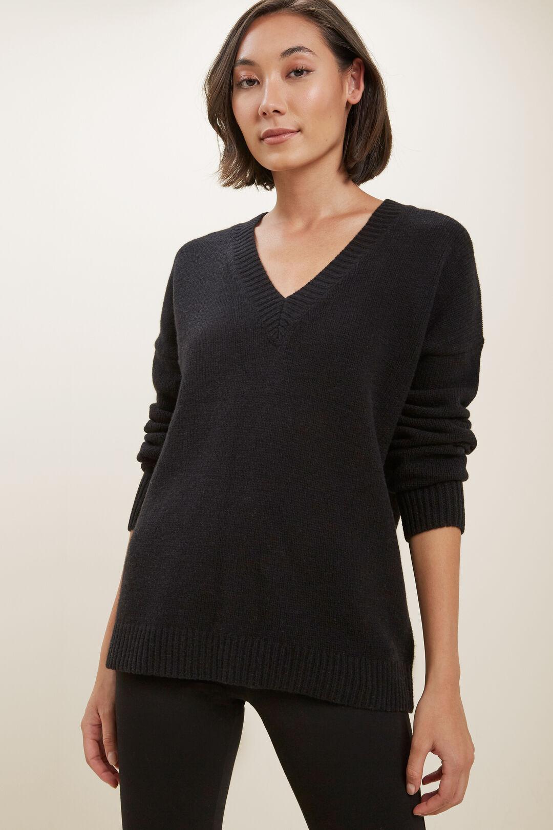 V Neck Wool Sweater  BLACK  hi-res