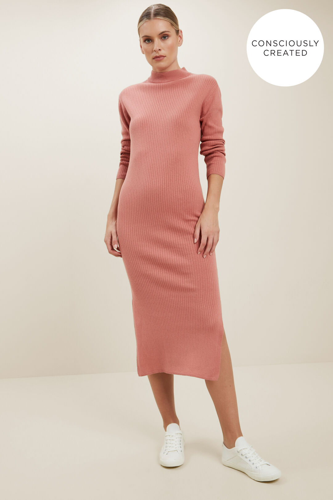 Sustainable Simple Knit Dress  OLD ROSE  hi-res