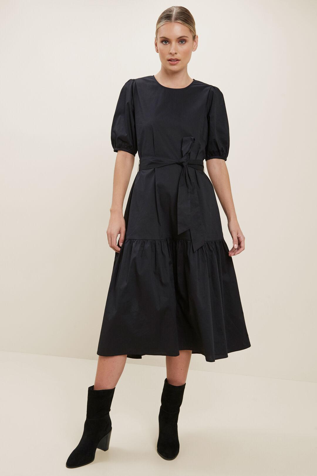 Poplin Midi Dress  BLACK  hi-res