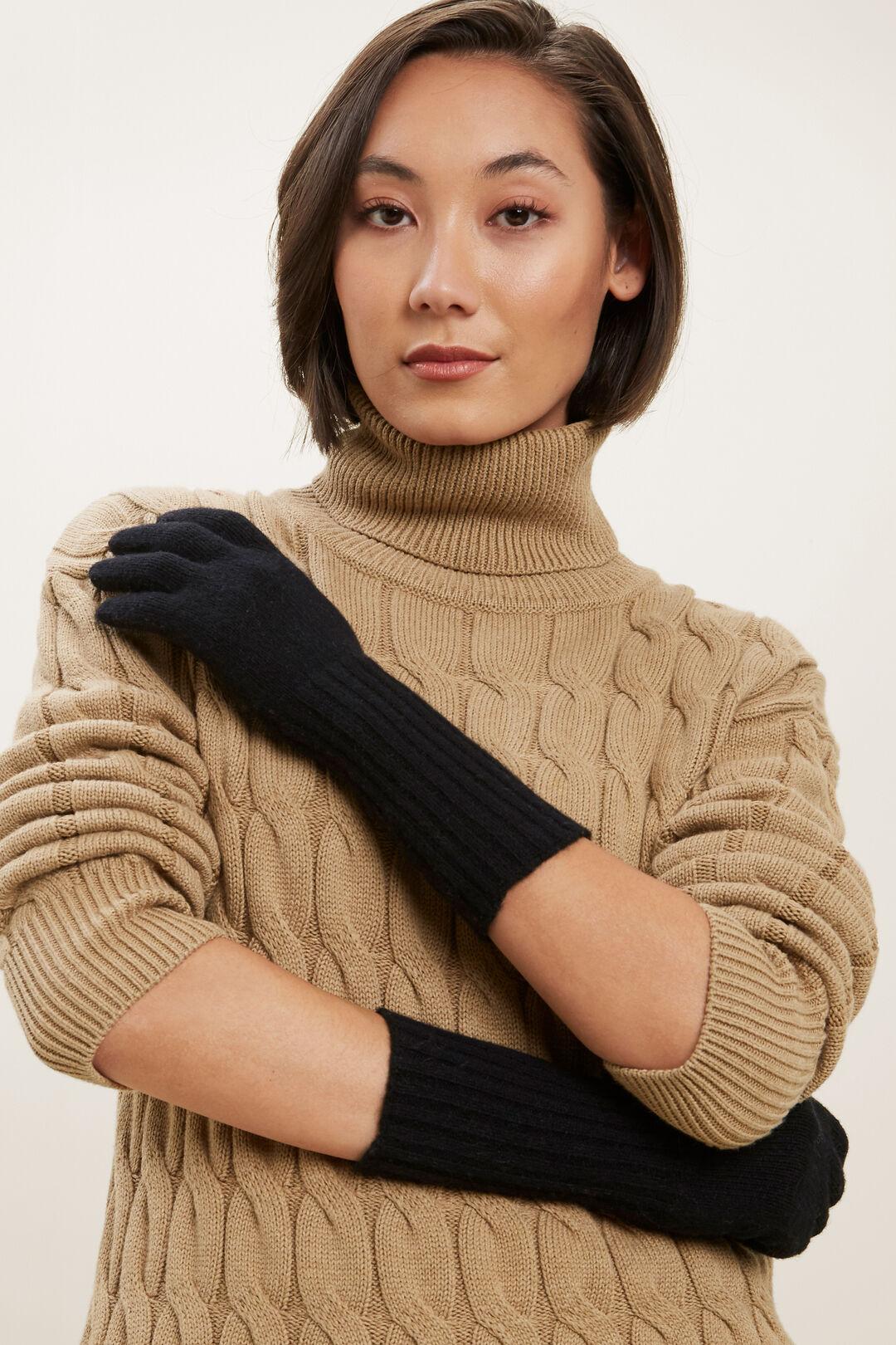 Rib Knit Gloves  BLACK  hi-res