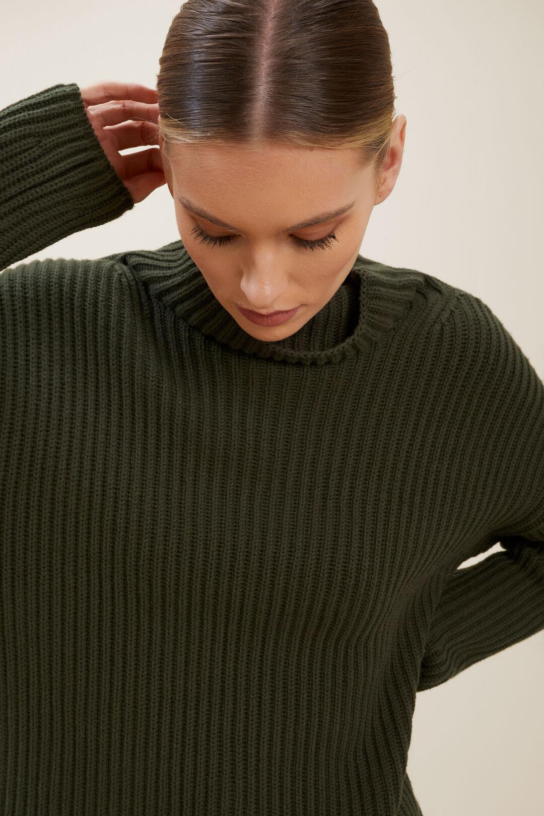 Merino Wool Rib Sweater  BASIL  hi-res