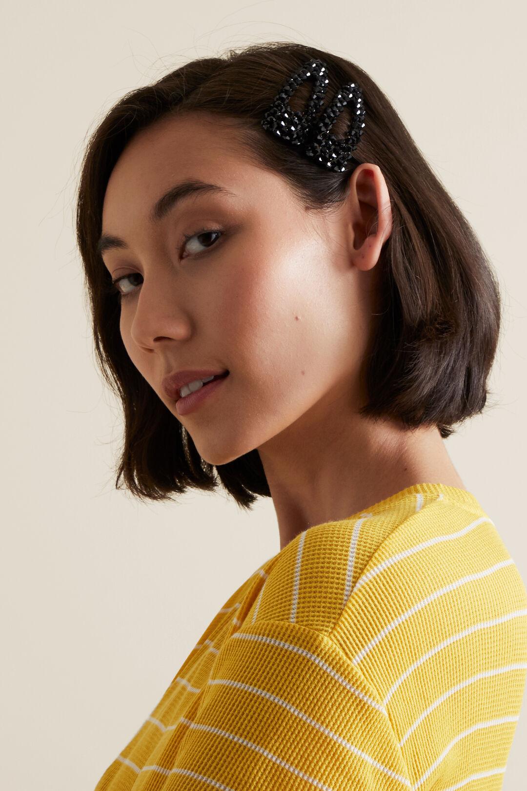 Beaded Hair Clips  BLACK  hi-res