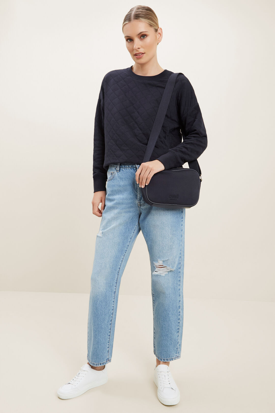 Quilted Sweater  DEEP NAVY  hi-res