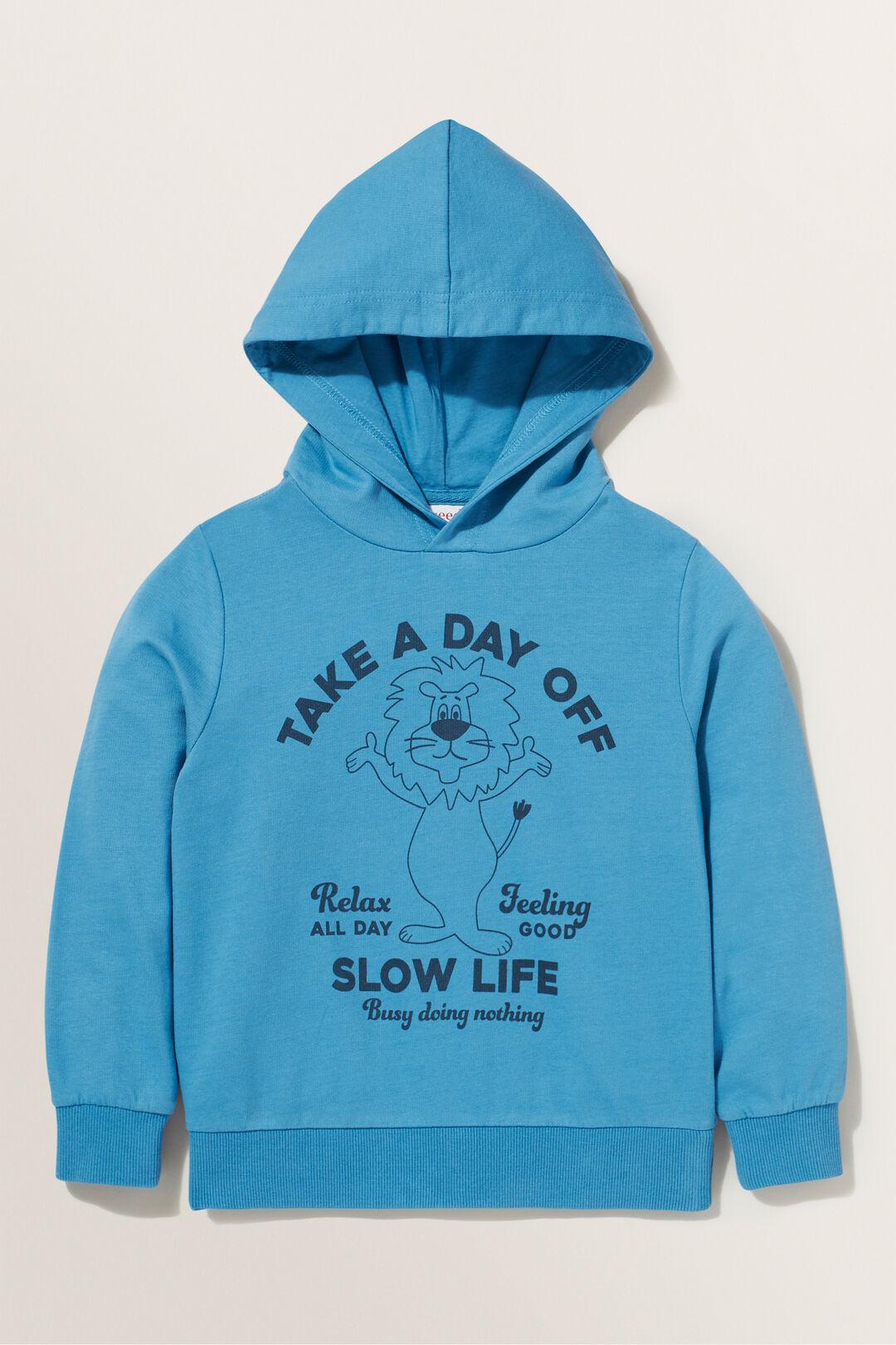 Slogan Hoodie  OCEAN BLUE  hi-res