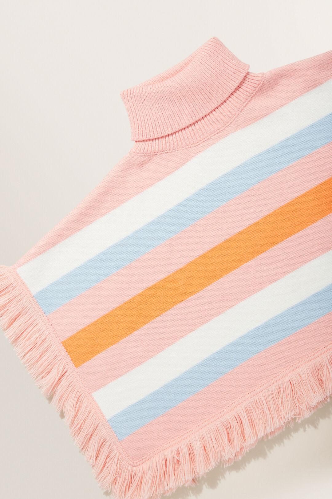 Variegated Stripe Poncho  MULTI  hi-res