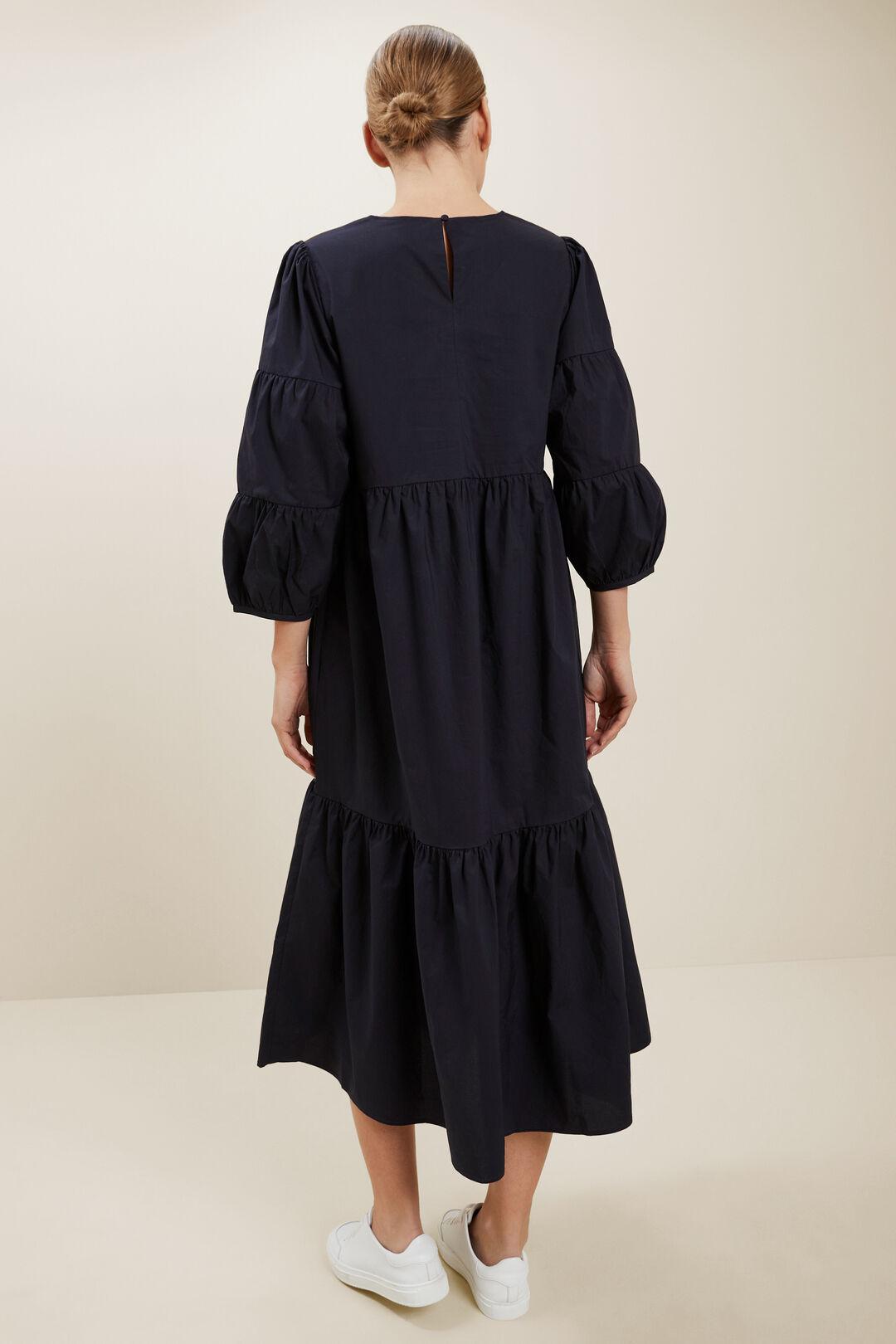 Poplin Tiered Midi Dress  DEEP NAVY  hi-res
