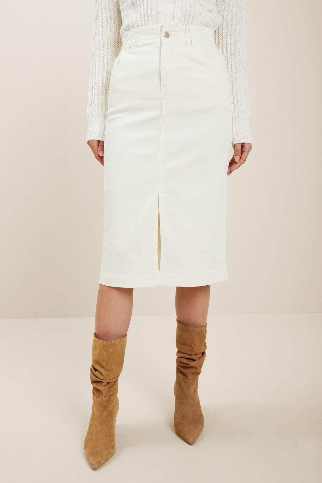 Denim Midi Elastic Skirt  FRENCH VANILLA  hi-res