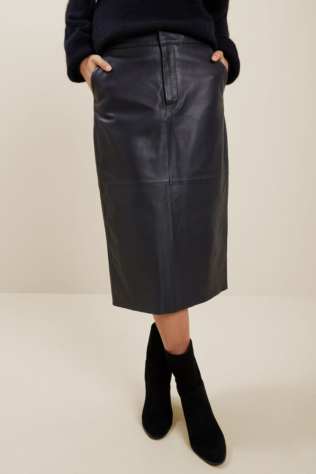Leather Midi Skirt  DEEP NAVY  hi-res