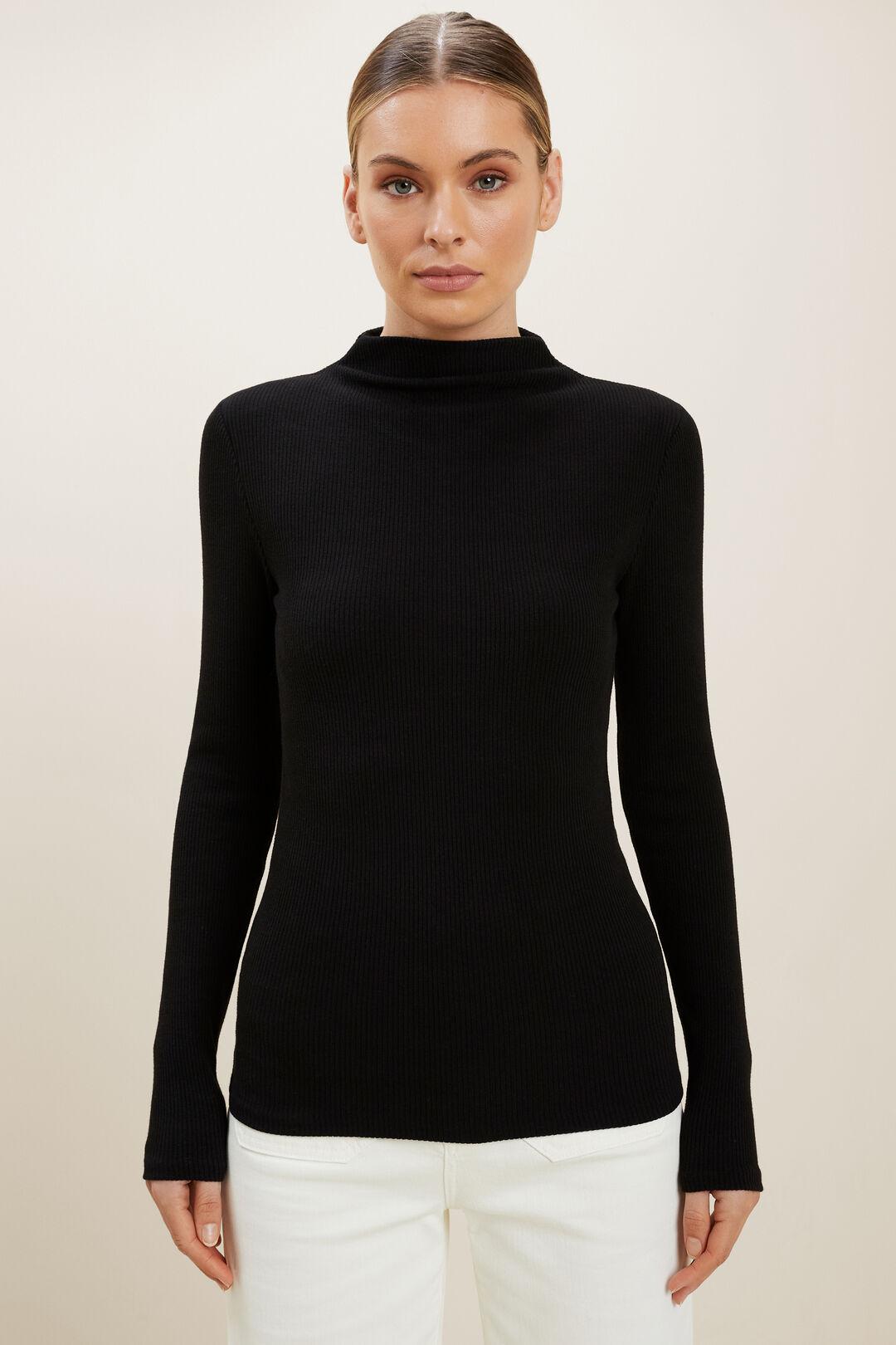 Long Sleeve Mock Top  BLACK  hi-res