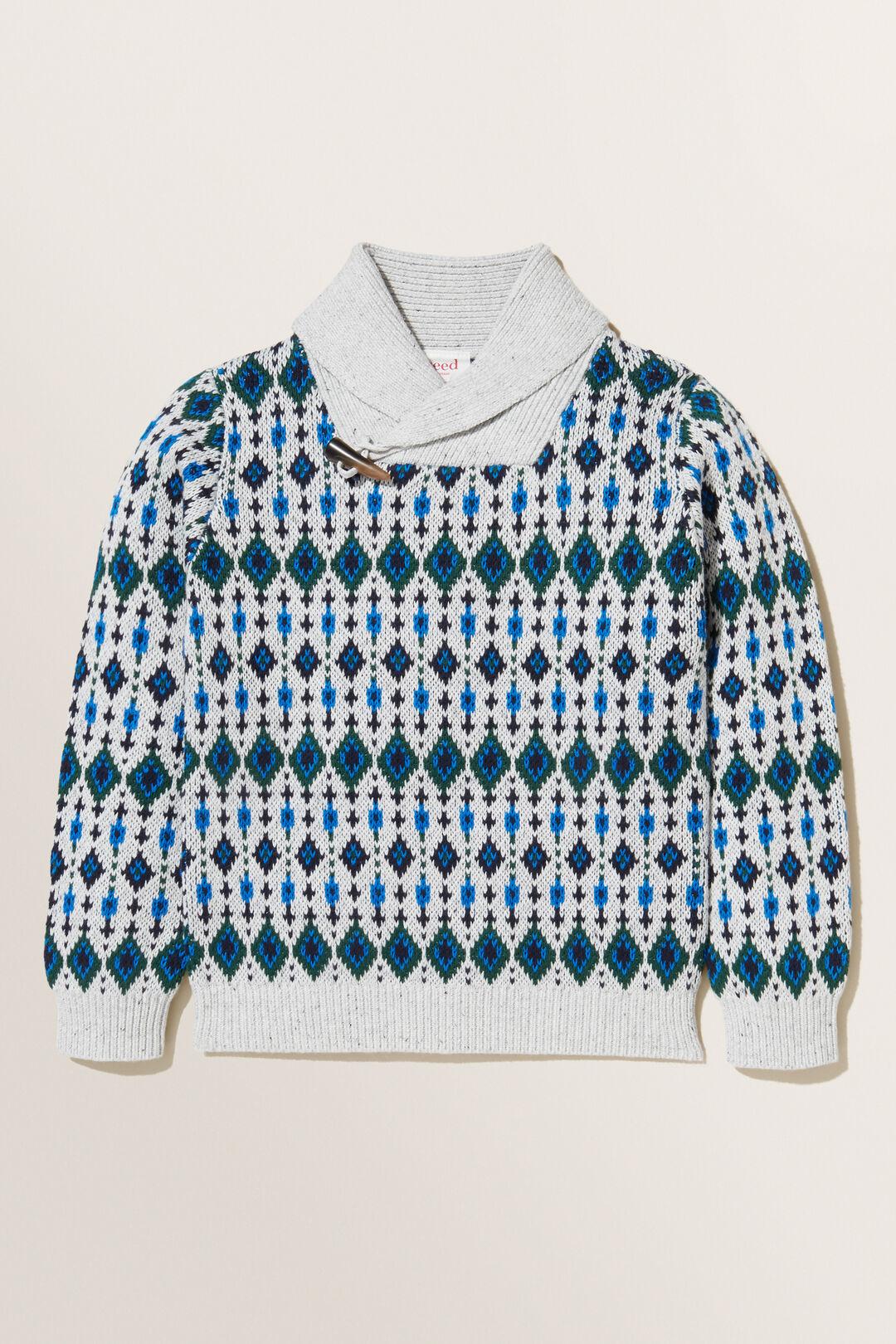 Fair Isle Shawl Knit Sweater  CLOUDY MARLE  hi-res