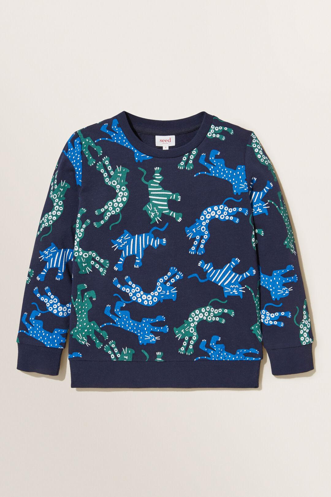 Big Cats  Print  Sweater  MIDNIGHT BLUE  hi-res