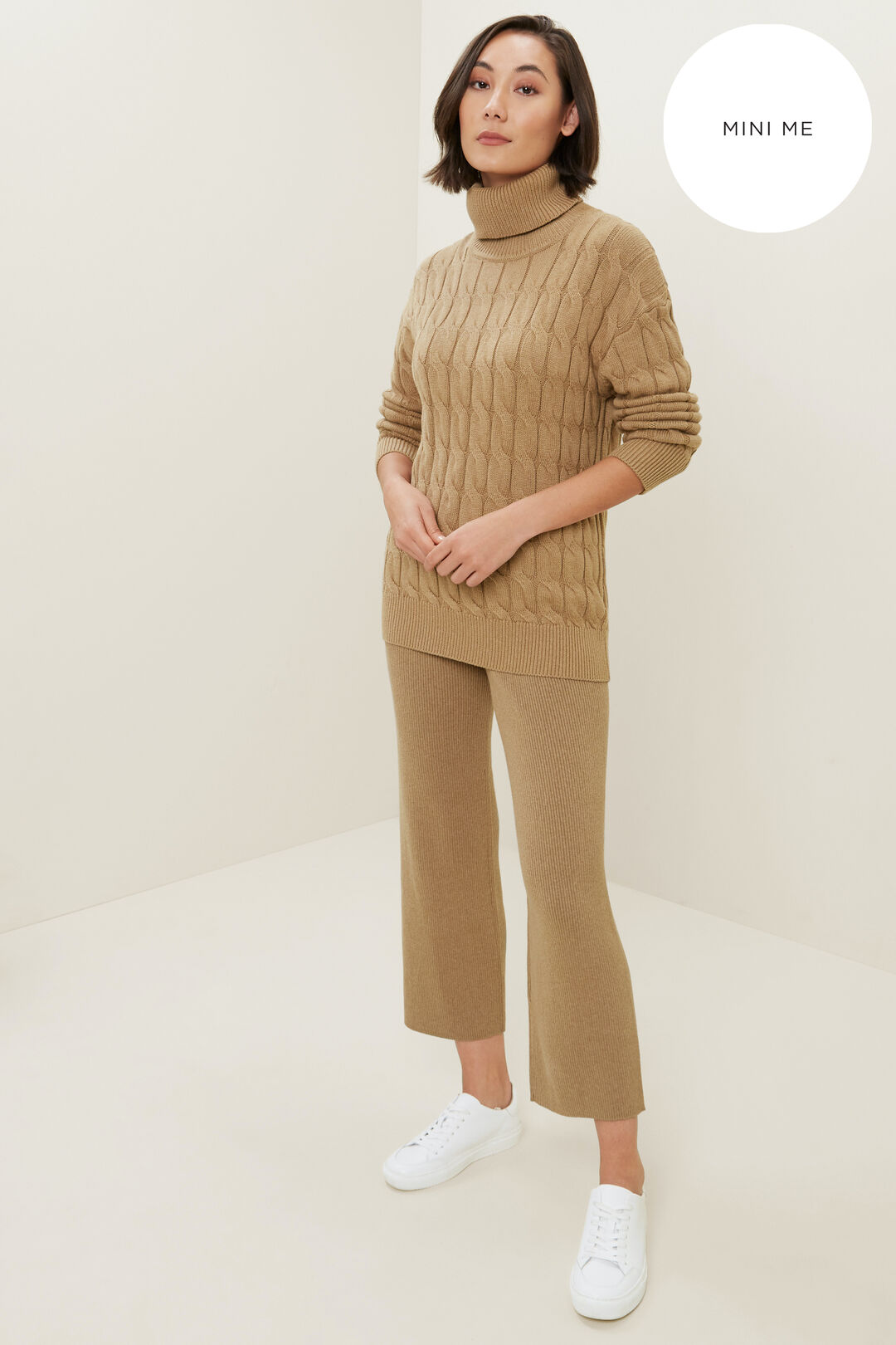 Cable Knit Sweater  HONEY DEW MARLE  hi-res