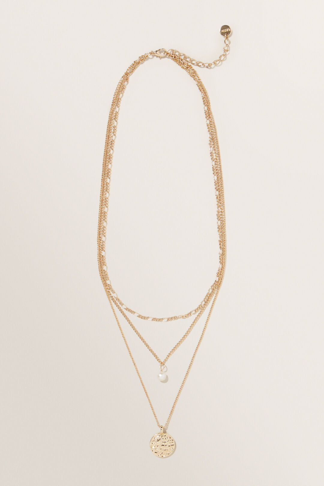 Layered Pearl Necklace  GOLD  hi-res