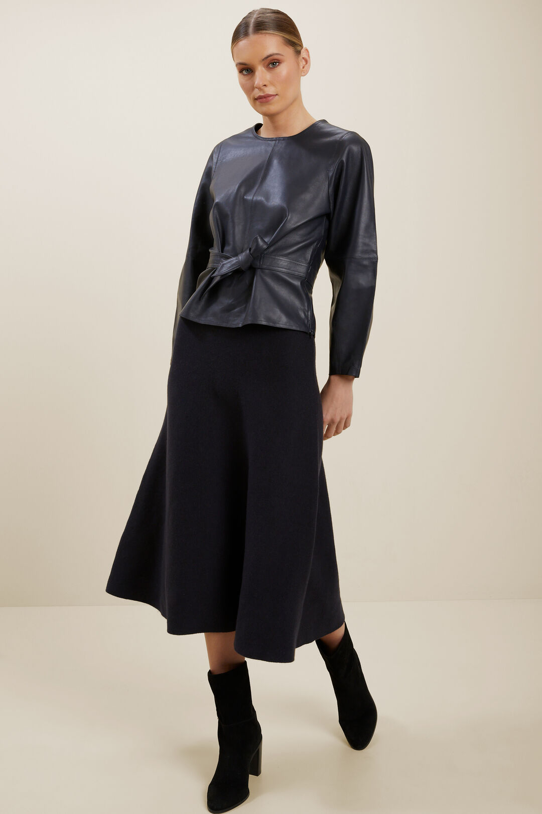 Leather Blouse  DEEP NAVY  hi-res