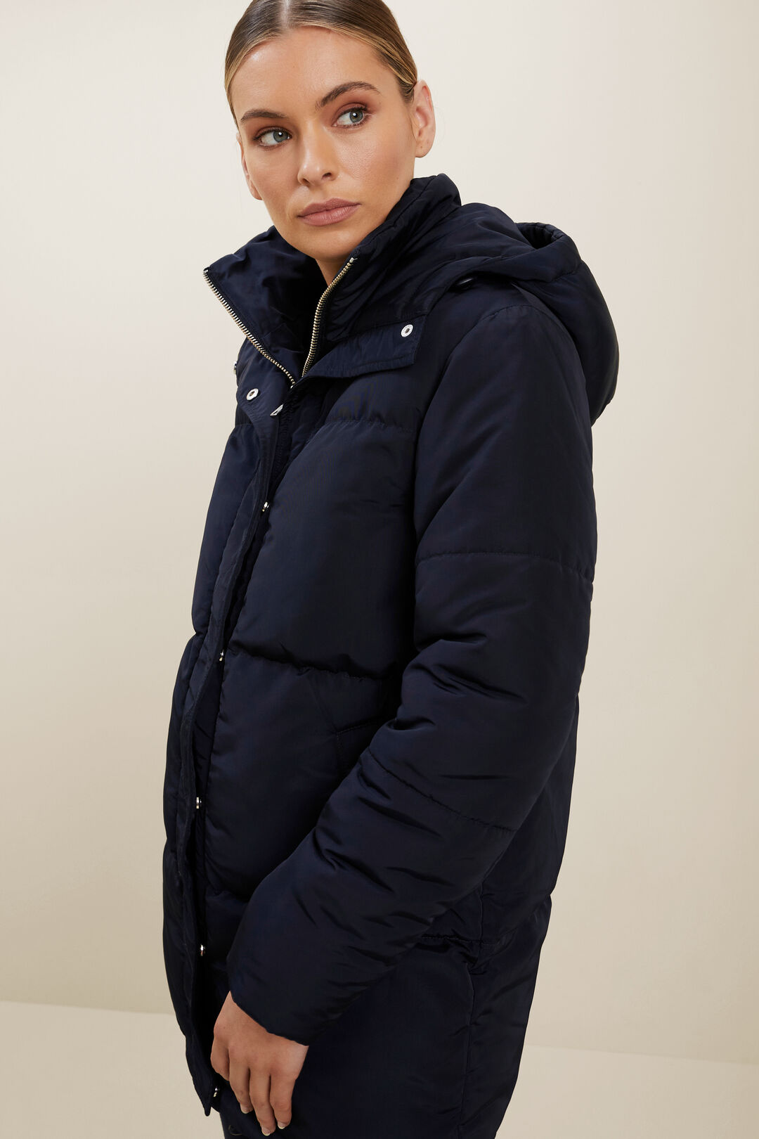 Mid Length Puffer Jacket  DEEP NAVY  hi-res