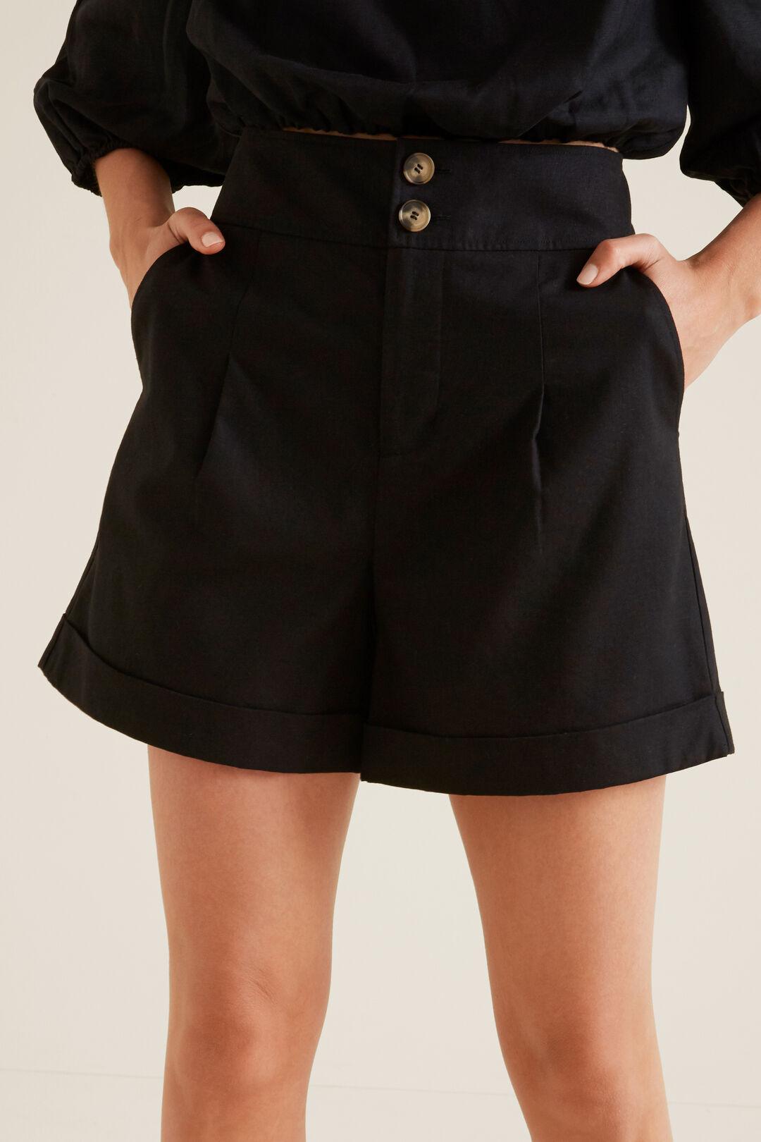 Linen Blend Short  BLACK  hi-res