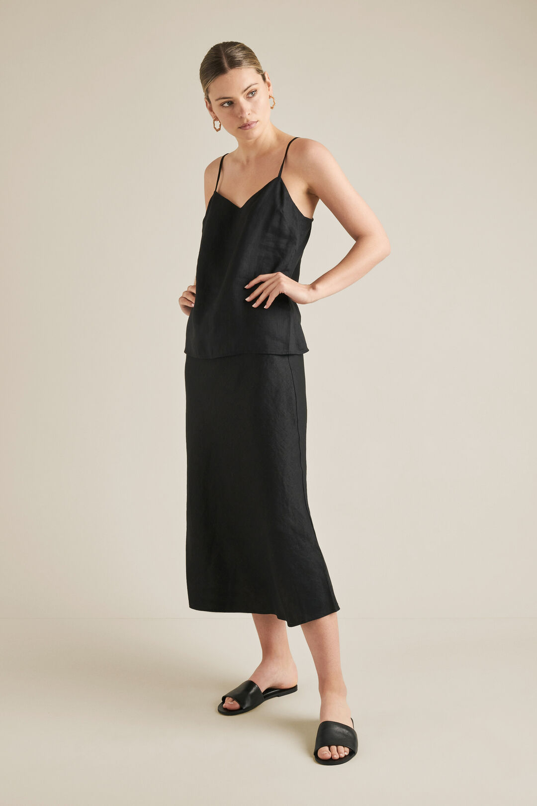 Linen Slip Skirt  BLACK  hi-res