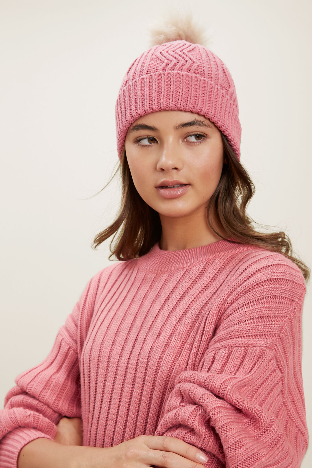 Cable Knit Beanie  MULTI  hi-res