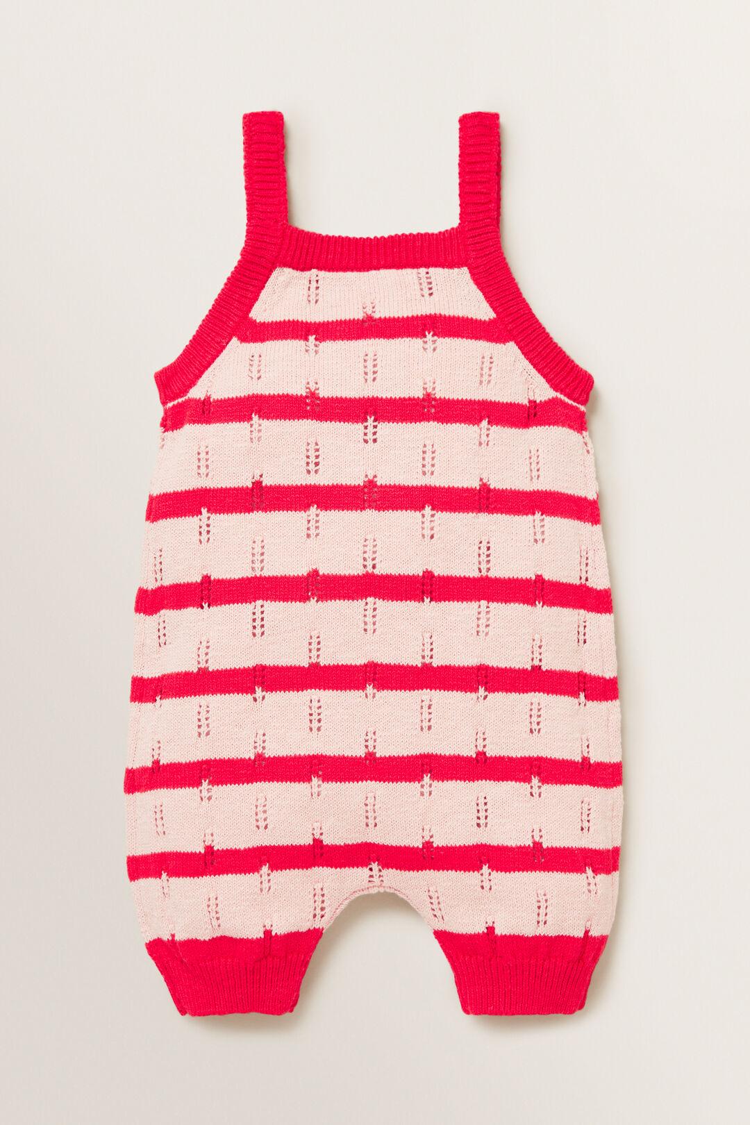Knitted Stripe Romper  PRETTY PINK  hi-res
