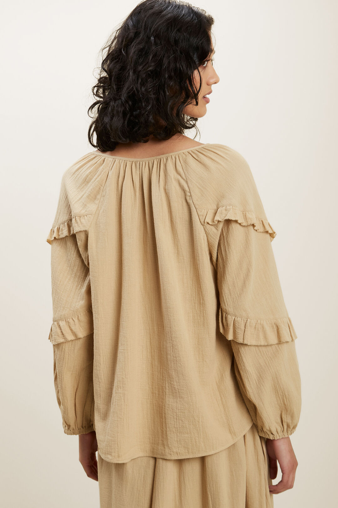 Frill Sleeve Blouse  STONECROP  hi-res
