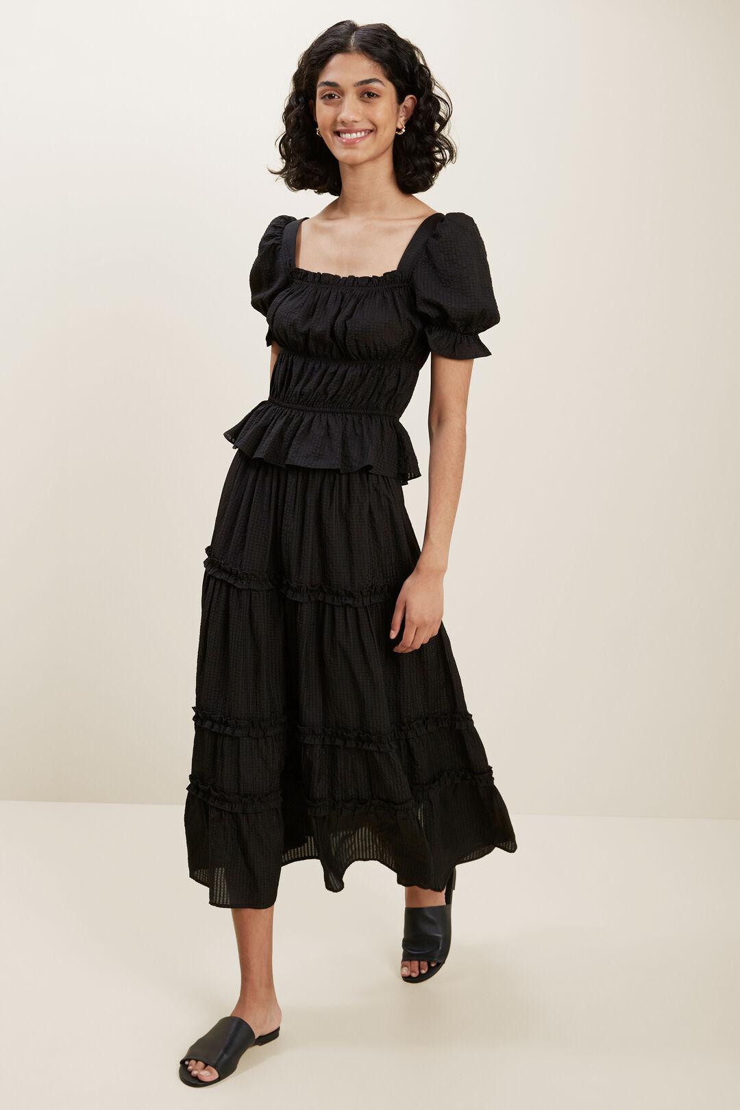 Check Tiered Skirt  BLACK  hi-res