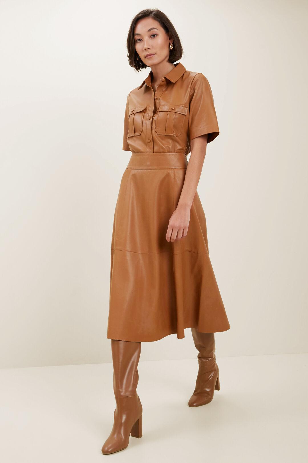 Fluted Leather Skirt  BURNT BRONZE  hi-res